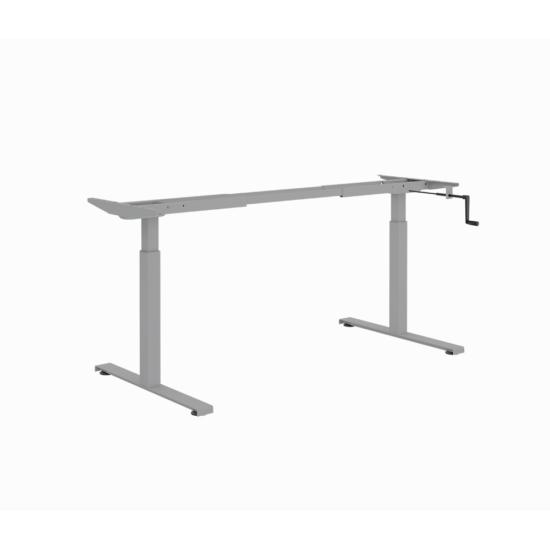 ErgoMan manuálisan emelhető asztal, alumínium színű lábszerkezettel, 120 cm, fehér asztallap