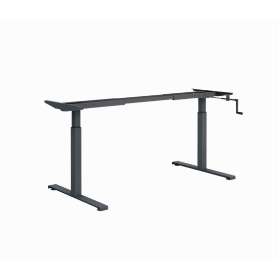 ErgoMan manuálisan emelhető asztal, antracit lábszerkezettel, 140 cm, fehér asztallap