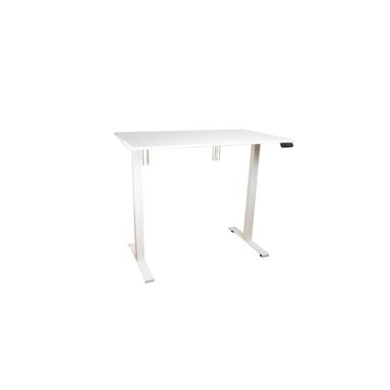 Elektromosan emelhető asztal alumínium lábszerkezettel, 140 cm, fehér asztallap