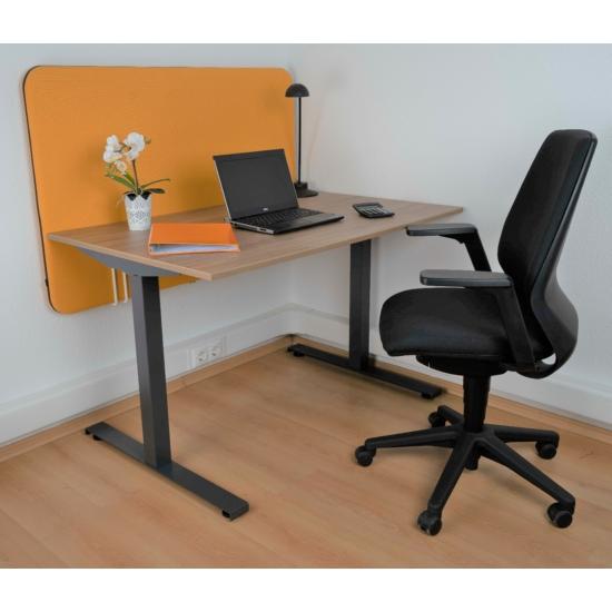 ErgoFix íróasztal, antracit lábszerkezettel, 140 cm, tölgy asztallap