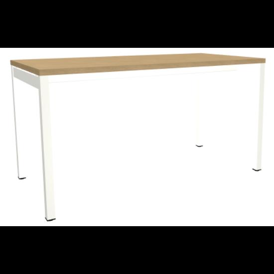 OGI Y (4-lábas, merevítő gerendás) 140 x 70   fehér láb / tölgy asztallap