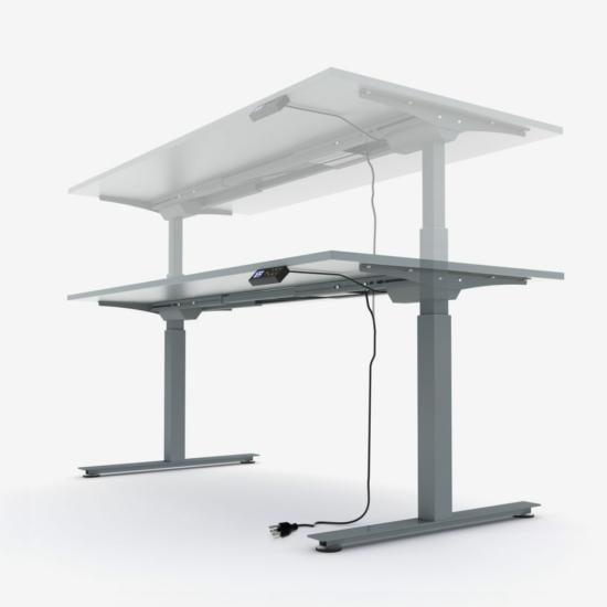 Elektromosan emelhető asztal fehér lábszerkezettel, 160 cm, tölgy asztallap