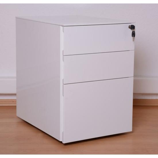 3-fiókos magas fényű fehér konténer