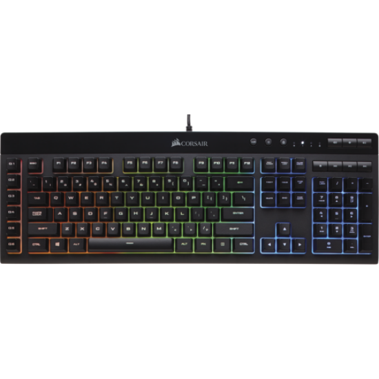 Corsair Gaming K55 RGB, Fekete, RGB LED, Rubber Dome Gamer