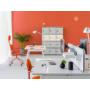 Kép 2/5 - OGI M (A-lábas, merevítő gerendás) 140 x 70   fehér láb / fehér asztallap