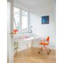 Kép 2/4 - OGI W (tömörfa A-lábas, merevítő gerendás) 140 x 70   kőris láb / fehér asztallap / fehér váz