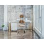 Kép 3/4 - OGI W (tömörfa A-lábas, merevítő gerendás) 140 x 70   kőris láb / fehér asztallap / fehér váz