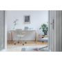 Kép 4/4 - OGI W (tömörfa A-lábas, merevítő gerendás) 140 x 70   kőris láb / fehér asztallap / fehér váz